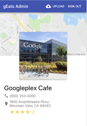 The restaurant's star rating, photo, and GPS location come from the Places API.