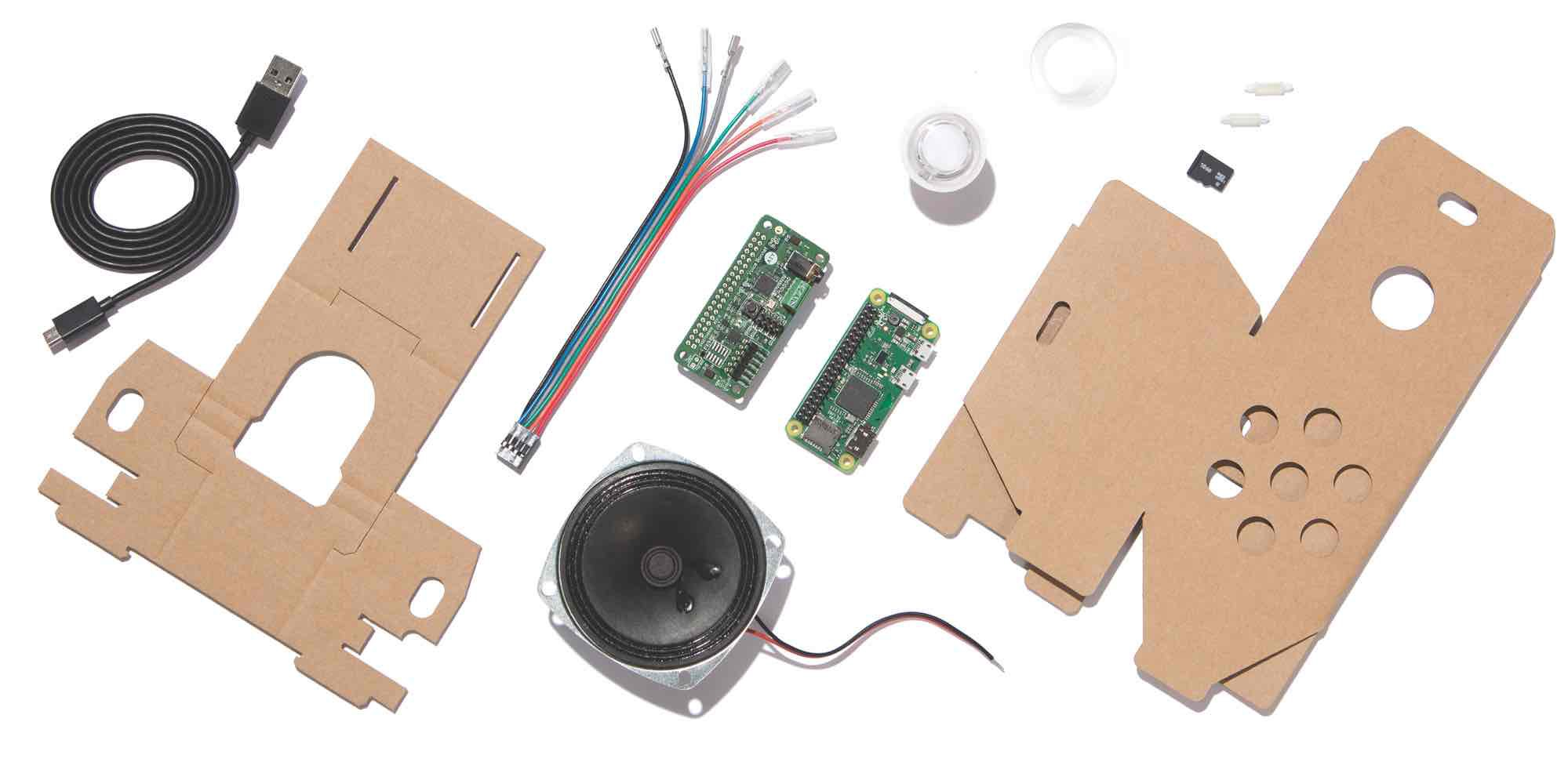 All the bits that come with the AIY Voice Kit, [https://aiyprojects.withgoogle.com/voice/#list-of-materials](https://aiyprojects.withgoogle.com/voice/#list-of-materials)