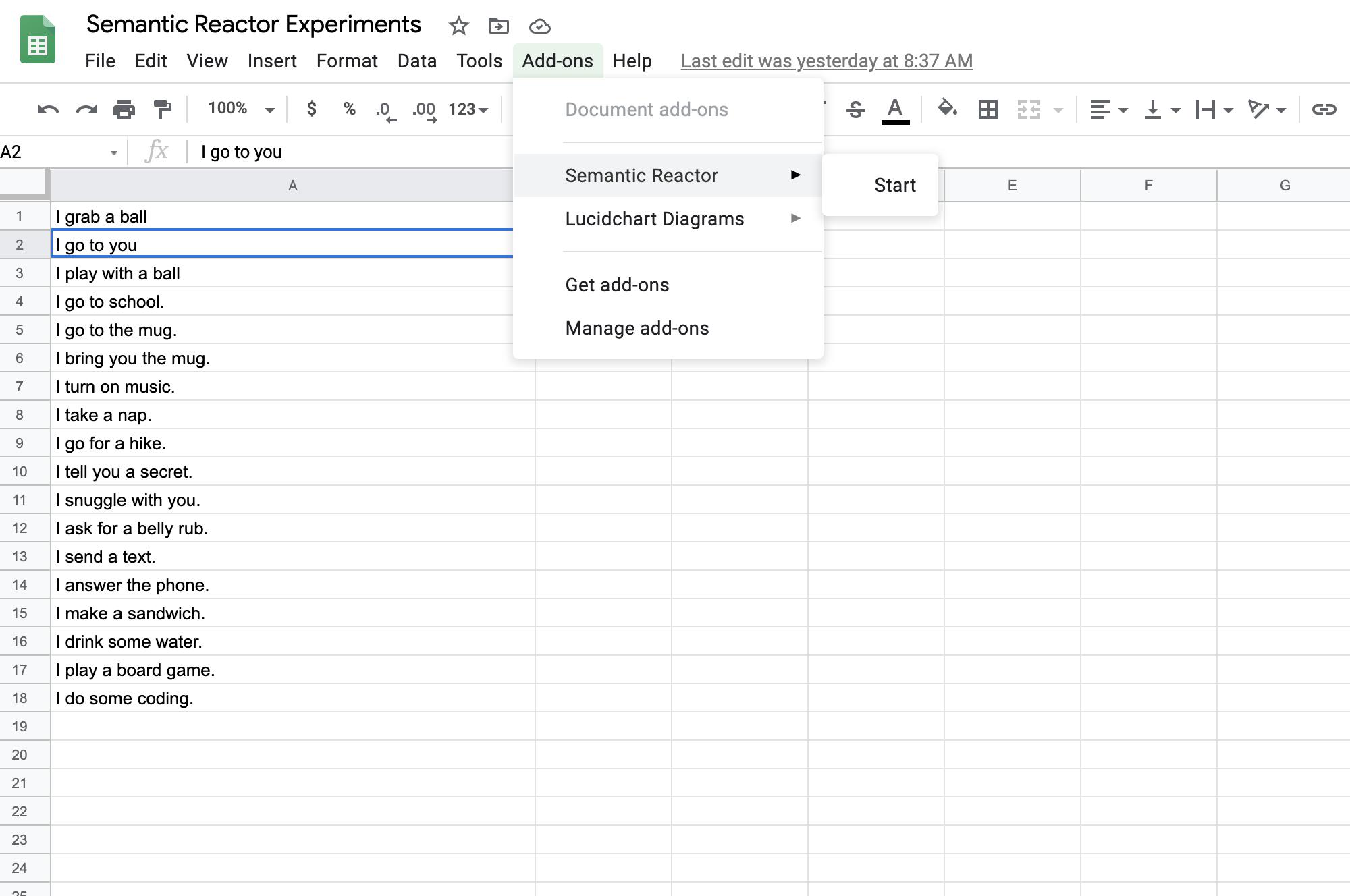 A screenshot of starting Semantic Reactor