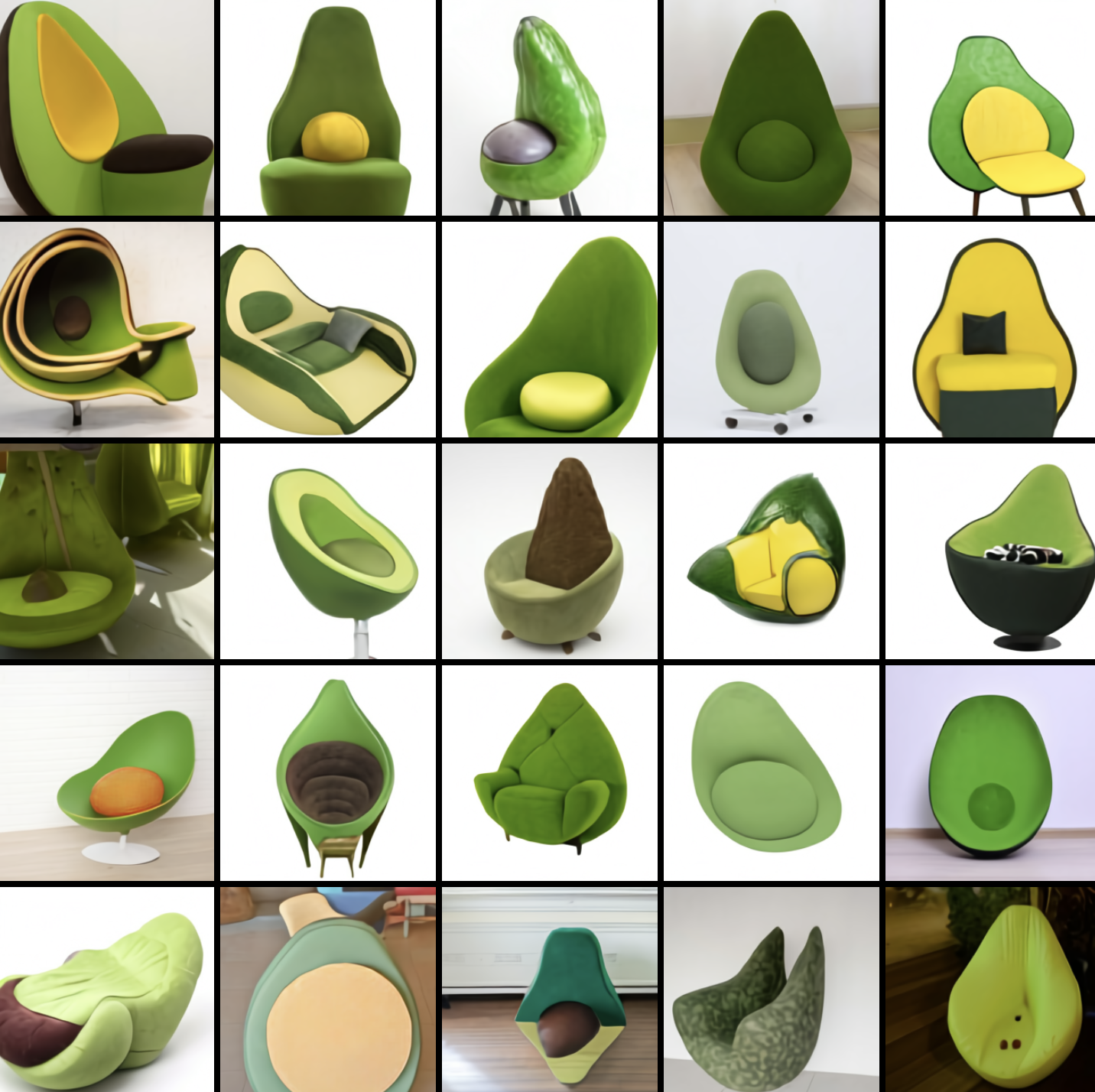 Generated images of avocado chairs