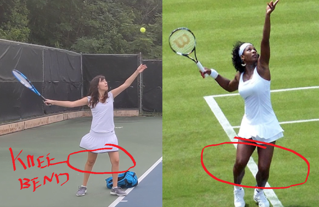 Image of knees during tennis serve