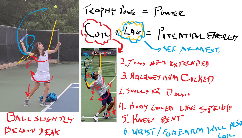 Diagram of arm during tennis serve